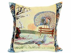 Blue Peacock pillow cover  18x18 pillow sham  by SABDECO on Etsy