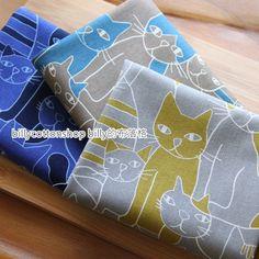 m164_55-  Cats fabrics  - cotton fabrics - Half Yard ( animal print fabric) - 3 colors by billycottonshop0413 on Etsy