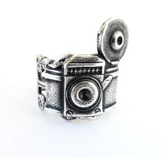 Steampunk Camera Ring Adjustable Sterling Silver Ox by bellamantra, $25.00