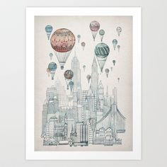 Poster / Voyages Over New York Art Print by David Fleck New York Canvas, New York Art, Framed Art Prints, Fine Art Prints, Canvas Prints, Art And Illustration, Air Balloon, Balloons, Balloon City
