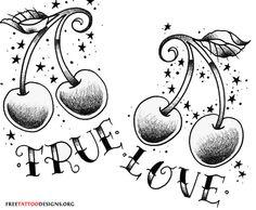 True love cherry tattoo design