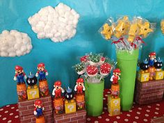 super mario brothers character themed nintendo birthday party green pipes made of painted cardboard