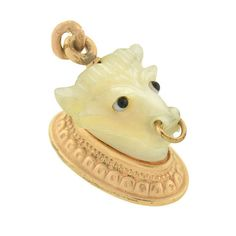 A. Brandt + Son - Victorian 14kt & Mother of Pearl Bull's Head Fob/Pendant