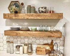 floating shelves This listing consists of ONE SHELF, TWO PIPE SHELF BRACKETS, mounting screws and instructions. This Rustic Industrial Farmhouse Floating Shelf with iron pipe support Rustic Wood Floating Shelves, Floating Shelves Kitchen, Reclaimed Wood Shelves, Wood Wall Shelf, Kitchen Shelves, Suspended Shelves, Ledge Shelf, Wall Décor, How To Make Floating Shelves