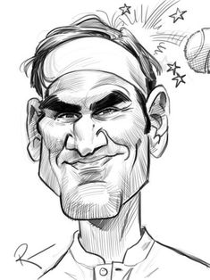 Roger Federer by Tom Richmond Funny Face Drawings, 3d Pencil Drawings, 3d Art Drawing, Cartoon People, Cartoon Faces, Cartoon Art, Caricature Artist, Caricature Drawing, Caricature Gifts