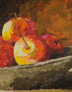 Flavors of Fall- Elizabeth St. Hilaire Nelson Very clever collage artist. Paper Collage Art, Painting Collage, Collage Artists, Paper Art, Fruit Painting, Collage Making, Painted Paper, Mixed Media Collage, Painting Inspiration