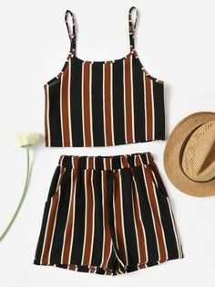 Shop Vertical Striped Crop Cami Top With Shorts online. SheIn offers Vertical Striped Crop Cami Top With Shorts & more to fit your fashionable needs. Curvy Fashion Summer, Cute Fashion, Teen Fashion, Fashion Outfits, Cute Summer Outfits, Spring Outfits, Trendy Outfits, Cool Outfits, Chic Summer Style