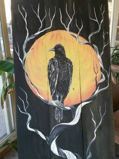 Raven on a dead cedar tree with a moon on pallet wood art by Stacie Sheets