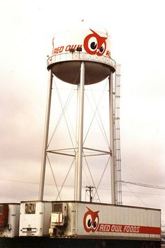 Red Owl water tower & trucks at corporate headquarters in Hopkins, Minnesota