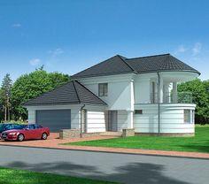 Projekt domu LK&827 Ceramic Roof Tiles, Concrete Staircase, 2 Storey House, Apartment Floor Plans, Bungalow House Design, Duplex, Dream House Exterior, Types Of Houses, Pool Houses