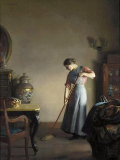 William McGregor Paxton (1869-1941) 'Girl Sweeping' c.1912