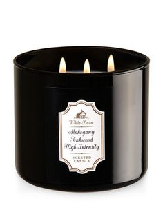 Bath and Body Works 3 Wick Candle in Mahogany Teakwood High Intensity Brown Glass With White Barn Label Bath Candles, 3 Wick Candles, Scented Candles, Candle Jars, Candle Holders, Bath And Bodyworks, Home Scents, White Barn, Wood Home Decor