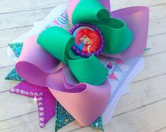 Check out our little mermaid party selection for the very best in unique or custom, handmade pieces from our shops. Little Mermaid Hair, Little Mermaid Birthday, Little Mermaid Parties, Baby Mermaid, Large Hair Bows, Diy Hair Bows, Bow Hair Clips, Ariel Hair, Disney Bows