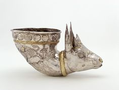 Spouted vessel with gazelle protome  4th century  Sasanian period  Silver and gilt  H: 15.5 W: 25.4 D: 14.1 cm  Iran or Afghanistan. #sculpture