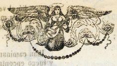Xilografía en texto de un ángel tocando el laúd