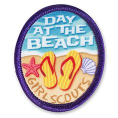 Day at the Beach GS Fun Patch -- not a badge, but an activity patch for the back of the vest/sash/etc. Girl Scout Patches, Girl Scout Troop, Girl Scouts, Cool Patches, Sew On Patches, Activities For Girls, Travel Patches, Merit Badge, Brother Scan And Cut