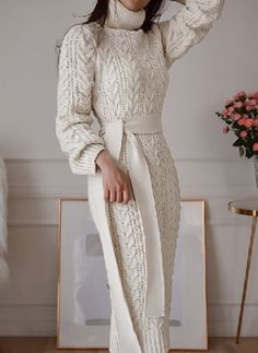 Long Sweater Dress Turtleneck Long Sleeve Sash Knit Dress - TD Mercado Source by Sweater Dresses Classy Outfits, Chic Outfits, Dress Outfits, Fall Outfits, Fashion Outfits, Dresses Dresses, Dresses Online, Women's Fashion, Long Sweater Dress