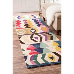 Shop for nuLOOM Handmade Tribal Arrowheads Rainbow Wool Multi Runner (2'6 x 8'). Get free shipping at Overstock.com - Your Online Home Decor Outlet Store! Get 5% in rewards with Club O! - 18666445