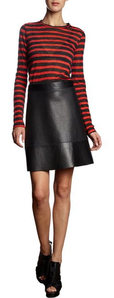 Modern chich by Proenza Schouler Leather Perforated Mini Skirt at Barneys.com