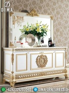 New Meja Konsol Jepara Cermin Hias Mewah Ukir Gold Ivory DF-1357 Ivory, Mirror, Storage, Gold, Furniture, Home Decor, Purse Storage, Decoration Home, Room Decor
