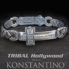 84f218cb0fb Konstantino Greek 3D Cross Sterling Silver Mens Bracelet Bracelets For Men