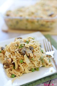 Cheesy Chicken Spaghetti ~ features shredded chicken, your favorite veggies, and a simple homemade cheese sauce (instead of Velveeta and canned soup)   FiveHeartHome.com
