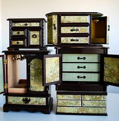 Refurbished vintage jewelry boxes from Happy Day Vintage.  Like exquisite, functional pieces of furniture. Great for jewelry, office supplies, make-up, sewing notions, etc..