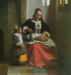 """Питер де Хох. """"Женщина, очищающая яблоко."""" 1663, холст, масло, Дата завершения: c.1663 Место нахождения: Лондон. Коллекция Уолласа (Великобритания) (деталь)"""