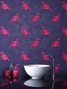 LOVE IT!!!   I think i just found how I want to decorate our master bath!!! Brighten up a cloakroom or bathroom with this fun flamingo wallpaper - by Graham and Brown.  LOVE IT