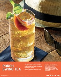 You can swing all day on the porch with a refreshing peach iced tea! This cocktail is easy to make with only three simple ingredients: 1 part Maker's Mark® Bourbon, 1/2 part DeKuyper® Peachtree® Schnapps Liqueur, 3 parts unsweetened iced tea.