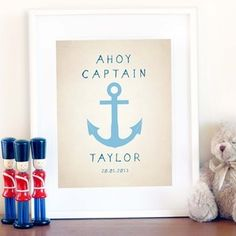 Ahoy Captain - customised print - for a little boy room..love this =)