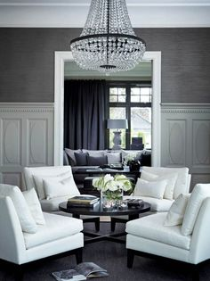 FORMAL LIVING ROOM The dark grey grasscloth wallpaper makes the moldings, the whites, accent pieces pop.Could also do in a dark/navy blue.