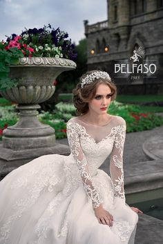 Amazing Embroidered Cinderella Chiffon Wedding Dress / Bridal Ball Gown with Long Sleeves and the Train by Belfaso Stunning Wedding Dresses, New Wedding Dresses, Bridal Dresses, Magenta Wedding, Wedding Dress Sleeves, Traditional Dresses, Bridal Collection, Dress Making, Ball Gowns