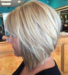 Angled Blonde Bob With Bangs