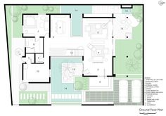 Image 20 of 29 from gallery of Courtyard House / Abin Design Studio. First Floor Plan U Shaped House Plans, U Shaped Houses, Pool House Plans, Courtyard House Plans, Modern Floor Plans, Home Design Floor Plans, Modern House Plans, Modern Courtyard, Courtyard Design