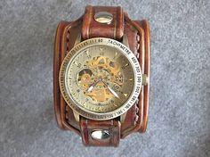 leon / Vintage kožené hodinky hnedé