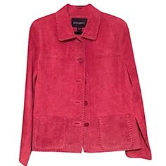 Bernardo Leather Washable Jacket Dark rose suede leather jacket which is completely washable! The suede itself is very thick and warm. Collar, placket and pockets finished with leather stitching. Only very gently worn, looks great... Bernardo Jackets & Coats