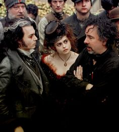 Johnny Depp, Helena Bonham Carter and Tim Burton