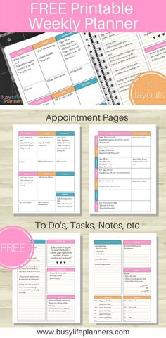 Free weekly planner printable available to download. Really cute design, with four layout options. Includes appointments plus customizable spaces for to do lists, shopping list, gratitude journalling, kids schedules, meal planning, and more. Love it! By Busy Life Planners
