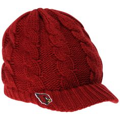 Women's Arizona Cardinals New Era Cardinal Arctic Blast Cable Cadet... ($26) ❤ liked on Polyvore featuring accessories, hats, cable beanie hat, nfl beanie hats, cable beanie, beanie cap hat and beanie caps