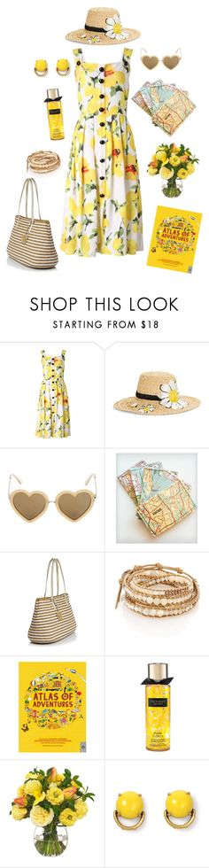 """Lemonade and Sunshine"" by conquistadorofsorts ❤ liked on Polyvore featuring Kate Spade, Markus Lupfer, Eric Javits, Chan Luu, Victoria's Secret, Diane James and Stella & Dot"
