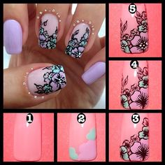 "1⃣ Put base color.  2⃣ Create flower pedals with desired colors.  3⃣ Outline the flower pedals and draw some ""clear"" flowers as shown.  4⃣ Draw leaves around the flowers as desires.  5⃣ Add white dots in the middle of the flowers and seal with top coat."