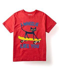 Look at this #zulilyfind! Red Pete the Cat 'I Wheelie Like You' Tee - Toddler & Kids #zulilyfinds