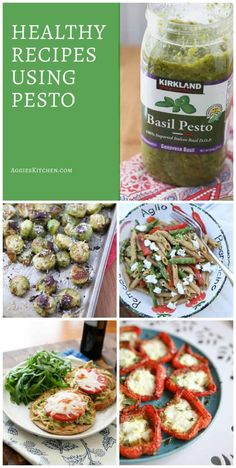 Add these healthy recipes with pesto to your meal planning! All are easy to make and delicious, using freshly homemade or your favorite jarred pesto. via @aggieskitchen