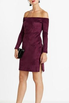 Turn heads this holiday season in this long sleeve velvet dress. Features back zip, side slit and sexy off the shoulder neckline. Off The Shoulder, Cold Shoulder Dress, Dress Outfits, Dress Up, Valentines Day Dresses, David, Velvet, Formal Dresses, Long Sleeve
