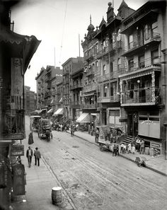 "New York c. 1900.  ""Chinatown--Mott Street."""
