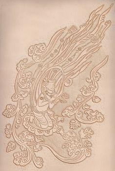https://flic.kr/p/dnWpnc | 가죽공예-성덕대왕 신종 비천상(Leather craft-Carving) | An image of a flying fairy-771년 완성된 신라시대 성덕대왕 신종에 조각된 공양 비천상을 가죽에 카빙하였습니다.