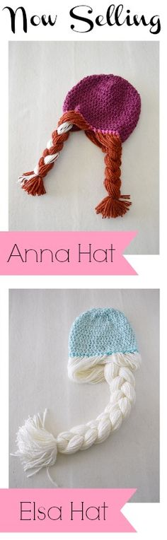 Anna & Elsa Crochet Hats FREE PATTERN. I'm gonna make these for my little sisters. Can't wait to see their faces when I'm finished.