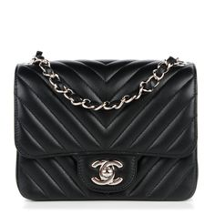 This is an authentic CHANEL Lambskin Chevron Quilted Mini Square Flap in Black. The chic little cross body features soft lambskin leather with…