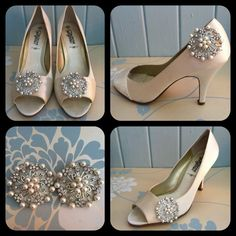 Beautiful Crystal and Pearl Shoe Clips by CoutureBridalDesign, $18.10